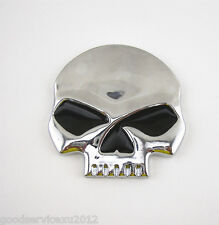 Silver 3D Skull Devil Head No Chin Badge Tank Cap 3M Sticker For Harley-Davidson