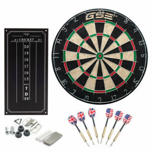 Professional Regulation Size Bristle Dart Board with Chalk Scoreboard & 6 Darts