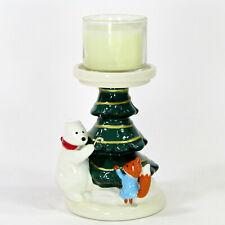 "Bath & Body Works POLAR BEAR & FOX 4.5"" Votive Mini Candle Holder Christmas Tree"