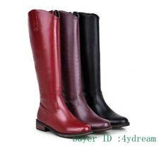 Ladies Side Zip Knee High Riding Boots Winter pu Leather Shoes Casual Size 31-43