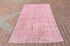 6x9.5ft Vintage Turkish Antique Traditional Handmade Soft Pink Color Area Rug