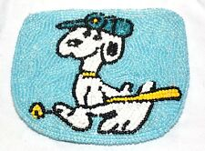 """Vintage Blue Retro Glass Beeded Snoopy Coin Purse Zip Fasten 4x4"""" Cute"""