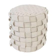 Coussin de siège 100% laine Tabouret Pouf 40X40X40 fait à la main beige