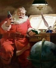 SANTA COKE COLA CANVAS PRINT OLD WORLD GLOBE QUILL PEN CHRISTMAS ART LARGE