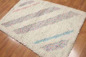 4' x 6' Handmade Shaggy 100% wool thick dense pile area rug 4x6