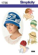 SIMPLICITY SEWING PATTERN MISSES' HATS IN THREE SIZES SMALL  MED LARGE  1736