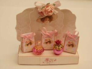 Dolls house : 1/12th Handmade ladies pink perfume display stand  -By Fran