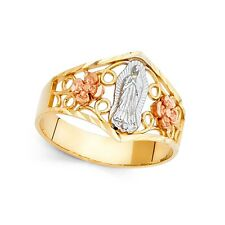 Lady Guadalupe Flower Ring 14k Yellow White Rose Gold Virgin Mary Tapered Band