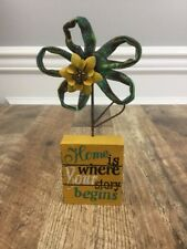 """8.25"""" Tall HOME IS WHERE YOUR STORY BEGINS Wood & Metal Flower Desk Sign Decor"""