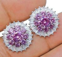 4CT Pink Sapphire & White Topaz 925 Solid Sterling Silver Earrings Jewelry, X1