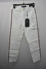 Tommy Hilfiger Women's Essential Cropped Stripe Jean White  sz 2 NWT