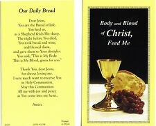 Our Dail Bread card (Lot of 2 w/ Chalice & Bread Catholic Christian prayer cards