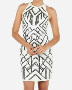 EXPRESS WOMAN DRESS DECO WHITE SILVER SEQUIN STRETCH PARTY DRESS SMALL