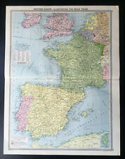 Antique Map Of Europe Illustrating Peace Terms France Spain England 1926