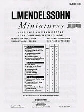 Mendelssohn 15 Miniatures Learn Play Easy Beginner Violin Piano Music Book 1