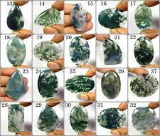 NATURAL MOSS AGATE CABOCHON SEAWEED LOOSE GEMSTONE VARIATION FOR JEWELRY MOS-B
