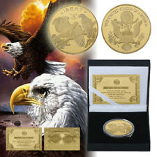 WR Collection Gold Plated LIBERTY Commemorative Coin US Eagle With Gifts Box