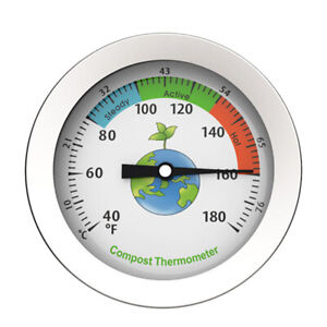 Dial Display Stainless Steel Compost Thermometer Portable Garden Soil Ground
