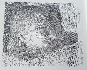Simon Brett Wood Engraving Emily Agnes Signed Framed 1980 Medici Gallery Exhibit