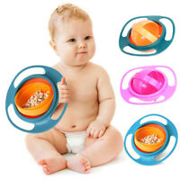 Baby Gyro Gravity Bowl Anti Spill 360 Rotate UniversalKids Feeding Training Cup