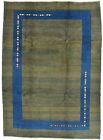 Vintage Tribal Oriental Gabbeh Rug, 7'x10', Green/Blue, Hand-Knotted Wool Pile