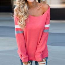 Fashion Womens Ladies Long Sleeve Splice Blouse Tops Plus Size T-Shirt Blouse CA