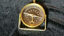 """Vintage brass multifunction ship compass with lock and stand 3"""" - works!"""