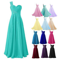 Plus Size 6-30 One Shoulder Chiffon Bridesmaid Gown Party Evening Prom Dress New