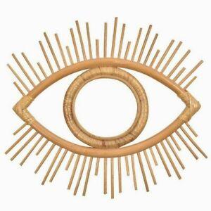 Mirror Eye Shape Rattan Innovative Art Decor Round Living Room Wall Hanging New