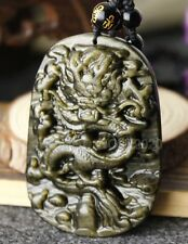 100% Natural Gold Obsidian Carved Handmade Dragon Lucky Pendant + Beads Necklace