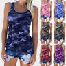 Plus Size Women Casual Army Camo Camouflage Tank Top Sleeveless Racer back Shirt