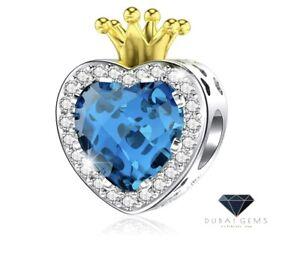 White Gold Finish Topaz And Created Diamond Crown Charm Dubai Sahara Collection