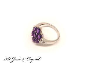 Genuine Amethyst Diamond Gemstone Ring - Sterling Silver (Size US 7.75)