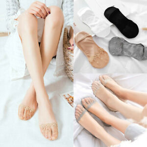 Women Invisible No Show Nonslip Loafer Lace Boat Liner Low Cut Cotton Socks New