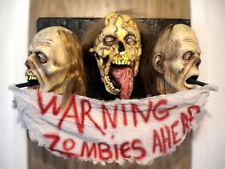DEAD ZOMBIE HEAD WARNING WALL PLAQUE HALLOWEEN PROP HORROR COLLECTIBLE LooK