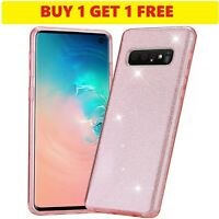 Luxury Bling Pink Glitter Clear Gel Phone Case For Samsung Galaxy S10 [2 FOR 1]