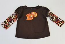 Girls GYMBOREE Fall for Autumn brown squirrel floral long t shirt 3-6 months