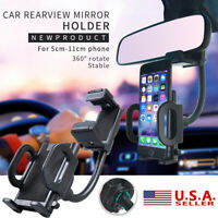 Universal Car Auto Rearview Mirror Mount Stand Mobile Phone GPS Holder Cradle US
