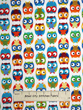FLANNEL ~ Owl Birds White Cotton Fabric ~Timeless Treasures CF8366 By The Yard