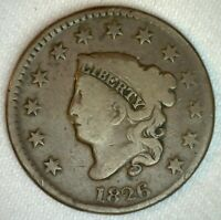 1826 Coronet Head US Large Cent Copper Coin Good Grade 1c US Penny Coin