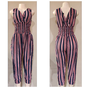 Women's Party Striped Casual Summer Sleeveless Jumpsuit Romper Dress w/pockets