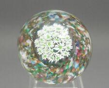 Vintage Murano Italian Art Glass Millefiori Paperweight White and Green Flowers