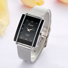 Women Stainless Steel Band Roman Mesh Square Dial Bracelet Quartz Wrist Watch