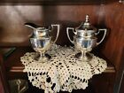 Sheffield Silver Co  silver plated EPC Gadroon Rope lidded sugar bowl   creamer