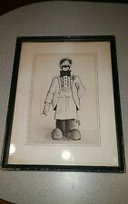 Ted Juern art Niles, Il 1968 smoking clown with rooster illustration