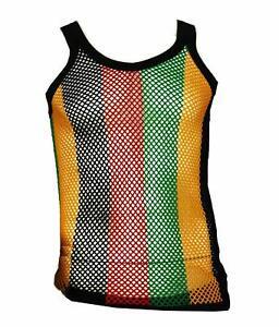 60x Men's Rasta Stripe 100% Egyptian Cotton String Vest wholesale joblot