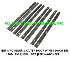 63-91 Jeep Grand Wagoneer Rubber Door Window Felt Weatherstrip Belt Seal 8pc Kit