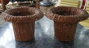 """2 Woven Natural Wicker Waste Basket Trash Can Planter Wastebasket Thick Rims 11"""""""