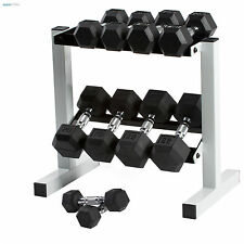 Hex Dumbbell Set With Rack Rubber Dumbbells Weight Lifting Gym Strength Training