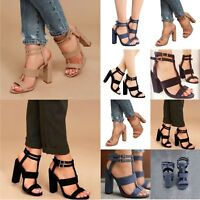 Women High Heels Strappy Ankle Block Sandals Open Toe Party Sandals Pumps Shoes